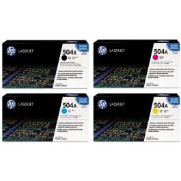 ~Brand New Original HP 504X / 504A Laser Toner Cartridge Set Black Cyan Yellow Magenta (Black High Yield)