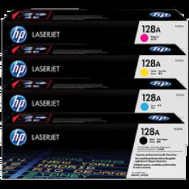 ~Brand New Original HP 128A Laser Toner Cartridge Set Black Cyan Yellow Magenta