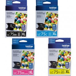 ~Brand New Original Brother LC75 High Yield Ink Cartridge Set Black Cyan Magenta Yellow