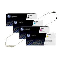 ~Brand New Original HP 508X Laser Toner Cartridge Set Black Cyan Yellow Magenta High Yield Set
