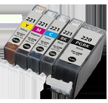 CANON PGI-220BK + CLI-221 SET INK / INKJET Cartridge Set (5 - Total cartridgesWith Chip)