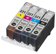CANON CLI-221 INK / INKJET Cartridge Set Black Cyan Yellow Magenta (With Chip)