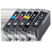 CANON CLI-8 SET + PGI--5BK INK / INKJET Cartridge Set (Total - 5 Cartridges With Chip)