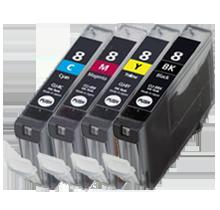 CANON CLI-8 INK / INKJET Cartridge Set Black Cyan Yellow Magenta (With Chip)