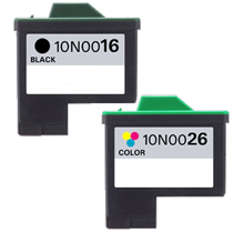 LEXMARK 10N0016 / 10N0026 #16 / #26 INK/ INKJET Combo Black Tri Color