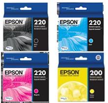 Brand New Original EPSON T220 INK / INKJET Cartridge Set Black Yellow Magenta Cyan