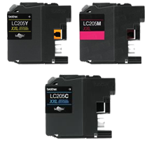 Brother LC205-XXL COLOR INK / INKJET Set Extra High Yield Cartridge Cyan Magenta Yellow