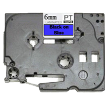 """BROTHER P-Touch Label Tape TZE-511 - 0.25"""" x 26' Black on Blue"""