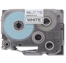 """BROTHER P-Touch Label Tape - 1"""" x 26' Black on White"""