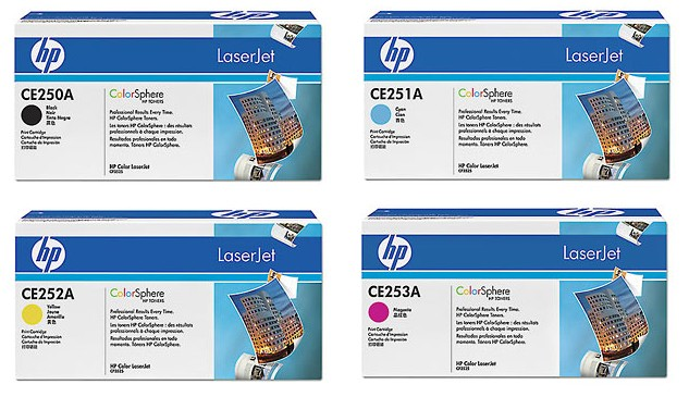 ~Brand New Original HP CP3525 Laser Toner Cartridge Set Black Cyan Yellow Magenta
