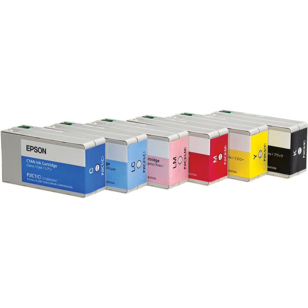 Brand New Original Epson PJIC SET INK / INKJET Cartridge Set of 6 for the PP-100 Discproducer Auto Printer (Cyan, Light Cyan, Magenta, Light Magenta, Yellow and Black)