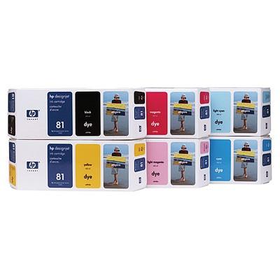 HP 81 HP81 INK / INKJET Cartridge Set Black Cyan Yellow Magenta Light Cyan Light Magenta