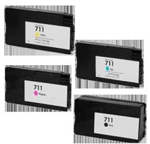 HP 711 INK / INKJET Cartridge High Yield Black Cyan Yellow Magenta