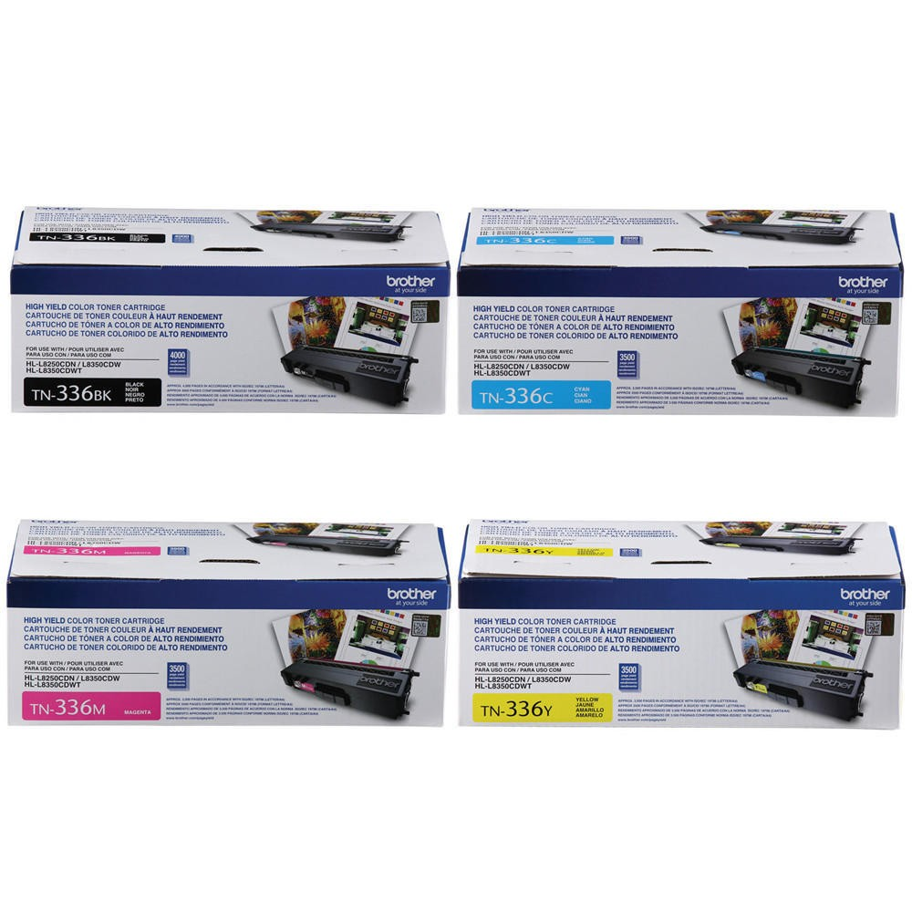 BROTHER TN-336 High Yield Laser Toner Cartridge Set Black Cyan Magenta Yellow