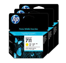Brand New Original HP CZ136A (HP 711) INK / INKJET Cartridge High Yield Yellow 3 Pack