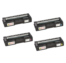 RICOH C252 (C252HA) Laser Toner Cartridge Set Black Cyan Magenta Yellow