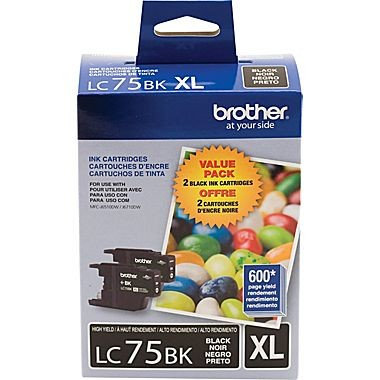 Original BROTHER LC75BKS High Yield INK / INKJET Cartridge Black 2-PACK