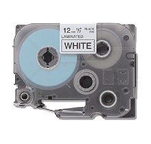 """BROTHER P-Touch Label Tape - 1/2"""" x 26' Black on White"""