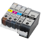 CANON PGI-220BK + CLI-221 SET INK / INKJET Cartridge Set (5 - Total cartridgesWith Chip)