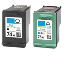 HP CB336WN / CB338WN (74XL/75XL) Black Tri-Color High Yield Ink Cartridge Combo Pack