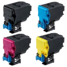 KONICA / MINOLTA 4750 / 4750DN High Yield Laser Toner Cartridge Set Black Cyan Yellow Magenta