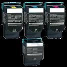 LEXMARK / IBM C544 Set High Yield Laser Toner Cartridges Black Cyan Yellow Magenta