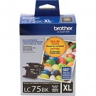 Original BROTHER LC75BKS High Yield INK / INKJET Cartridge Black 2-PACK